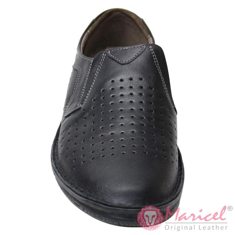 Pantofi barbatesti piele naturala neagra MAR-188