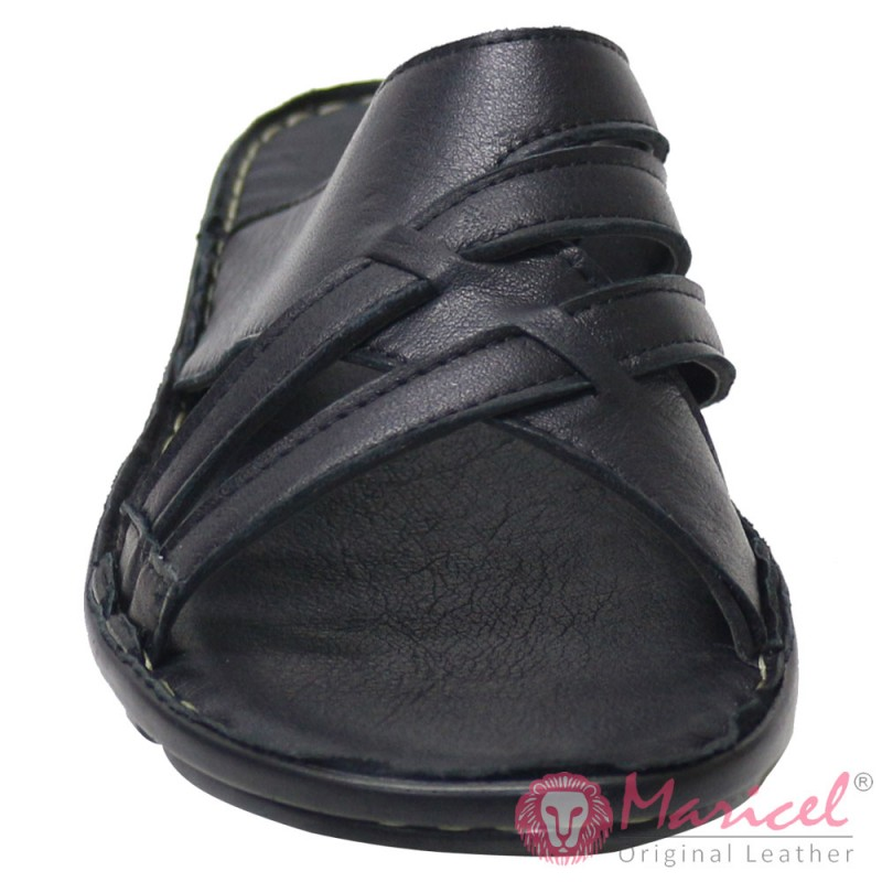 Papuci barbatesti negri piele naturala MAR-189
