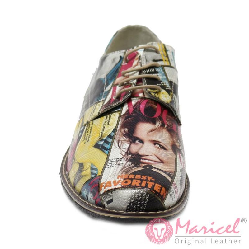 Pantofi din piele naturala imitatie ziar vogue MAR-36