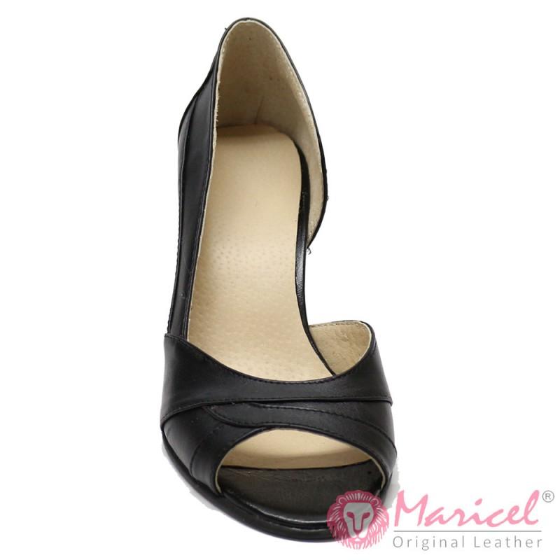 Pantofi din piele naturala cu toc MAR-02