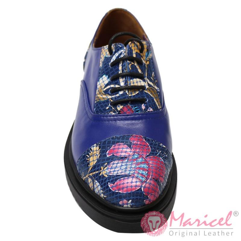 Pantofi dama din piele naturala model floral albastru MAR-102
