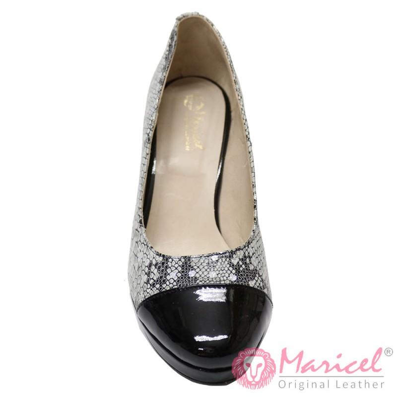 Pantofi dama din piele naturala model sarpe si lacuita MAR-109
