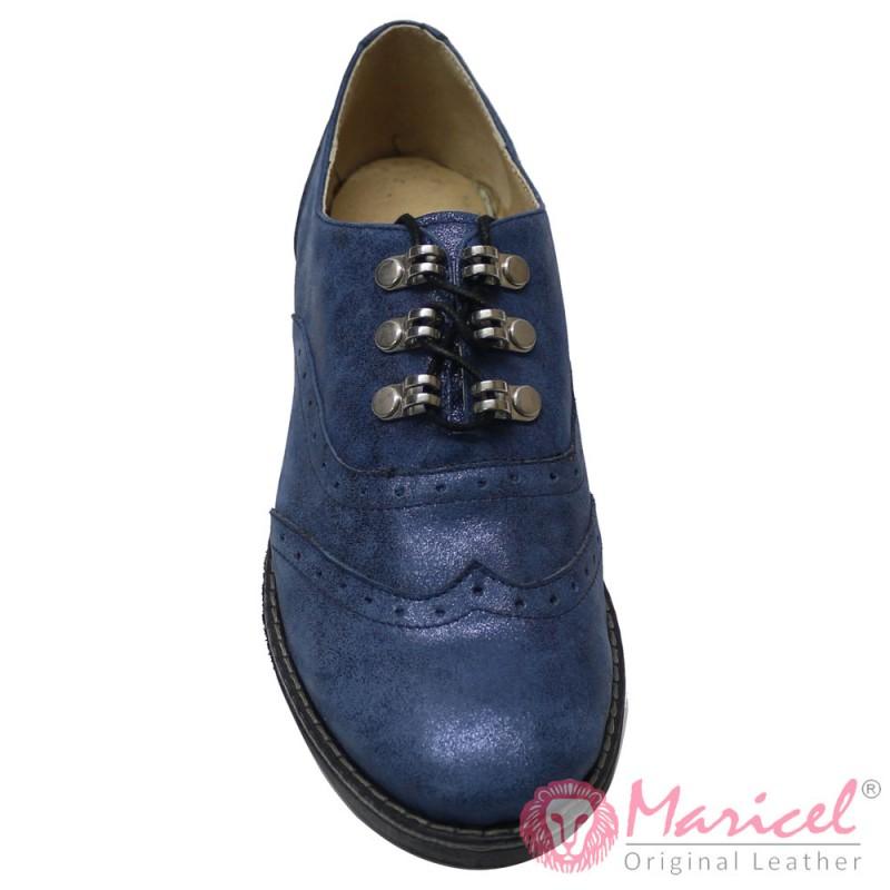 Pantofi dama casual din piele naturala albastru sidef MAR-131