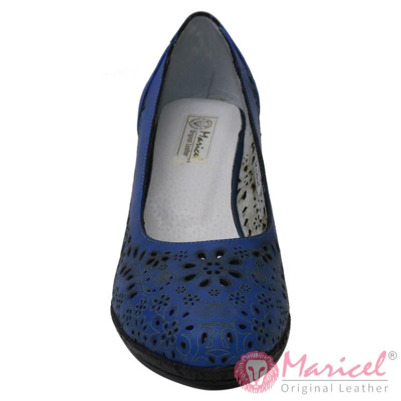 Pantofi dama din piele naturala albastra MAR-181