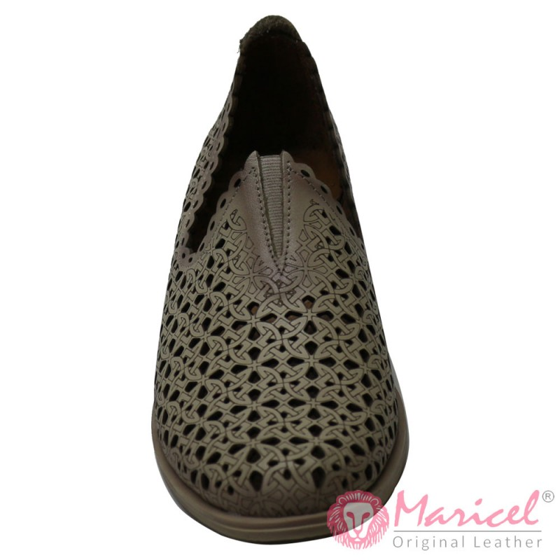 Pantofi dama din piele naturala bej MAR-182