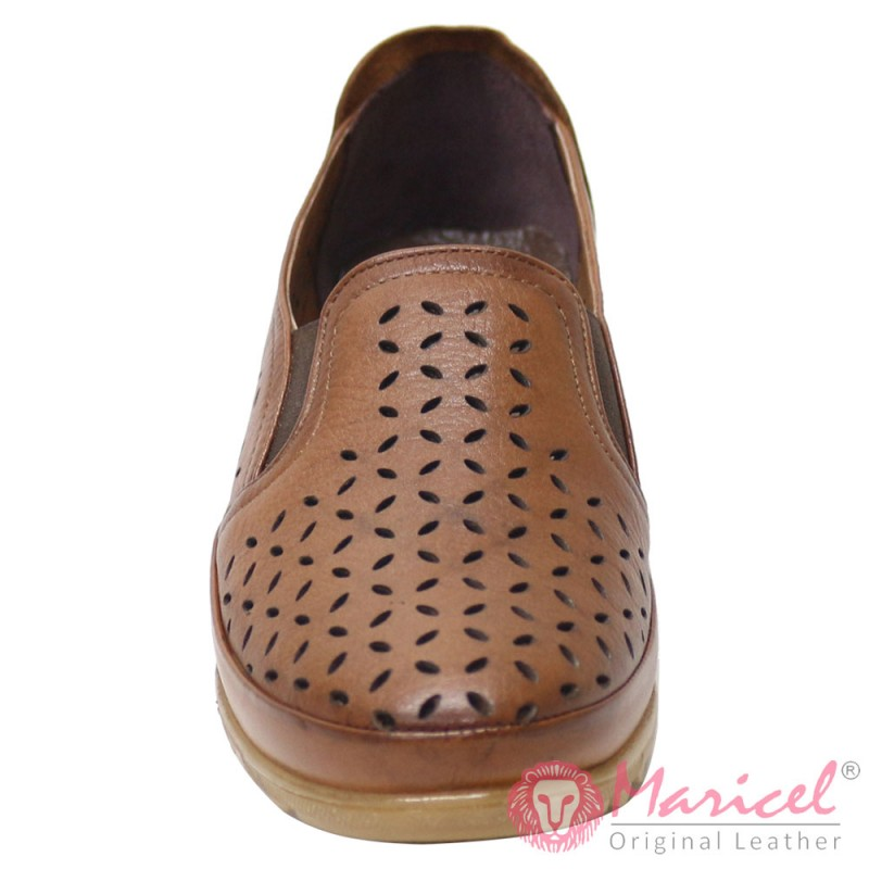 Pantofi dama casual din piele naturala maro MAR-185