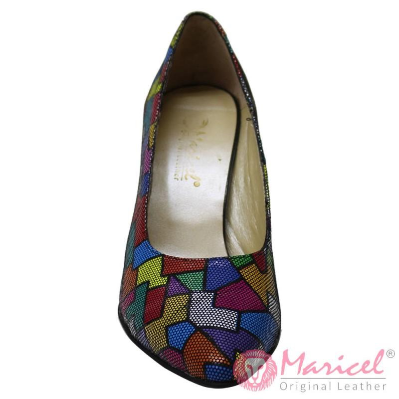 Pantofi dama stileto din piele naturala bezel MAR-195