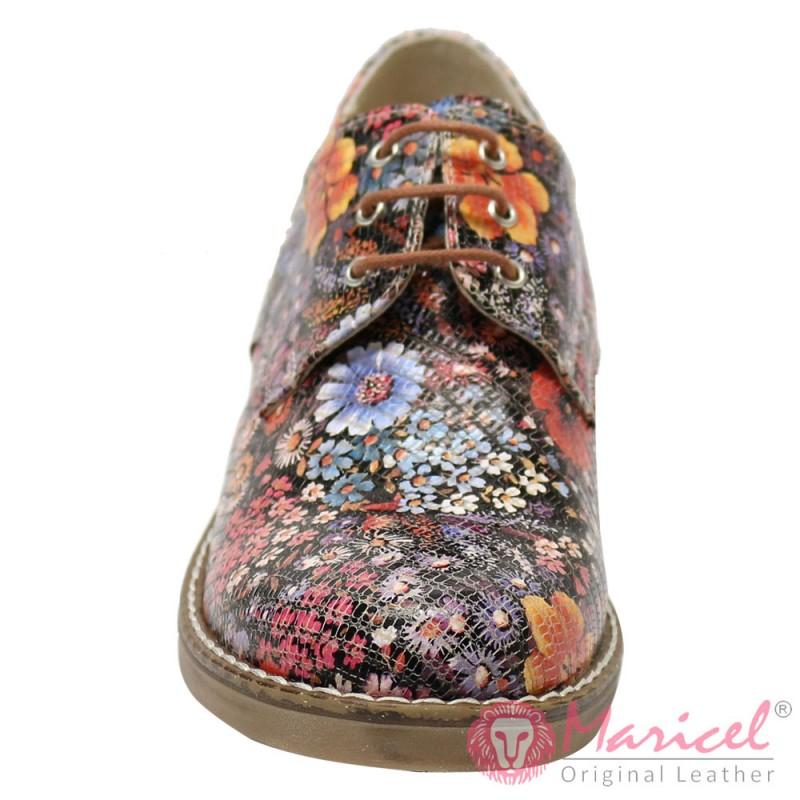 Pantofi din piele naturala model floral font maro MAR-63