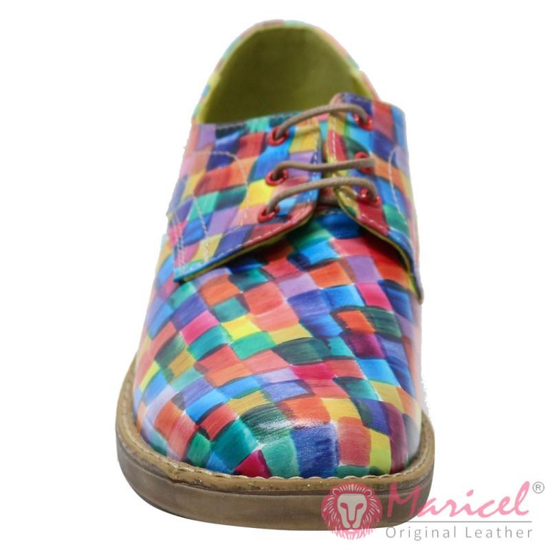 Pantofi dama din piele naturala multicolora MAR-65