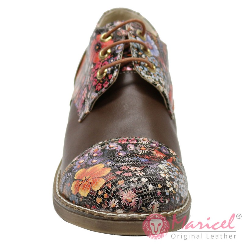 Pantofi dama din piele naturala maro floral MAR-69