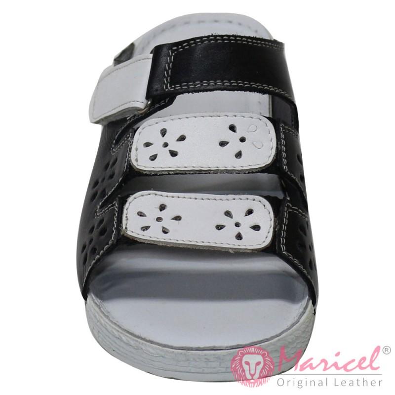 Papuci dama piele naturala neagra + alba MAR-194