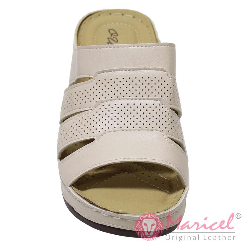 Papuci dama casual piele crem MAR-229