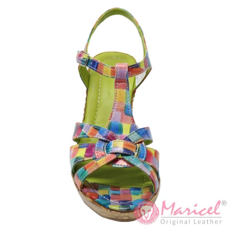 Sandale dama din piele naturala multicolora MAR-110