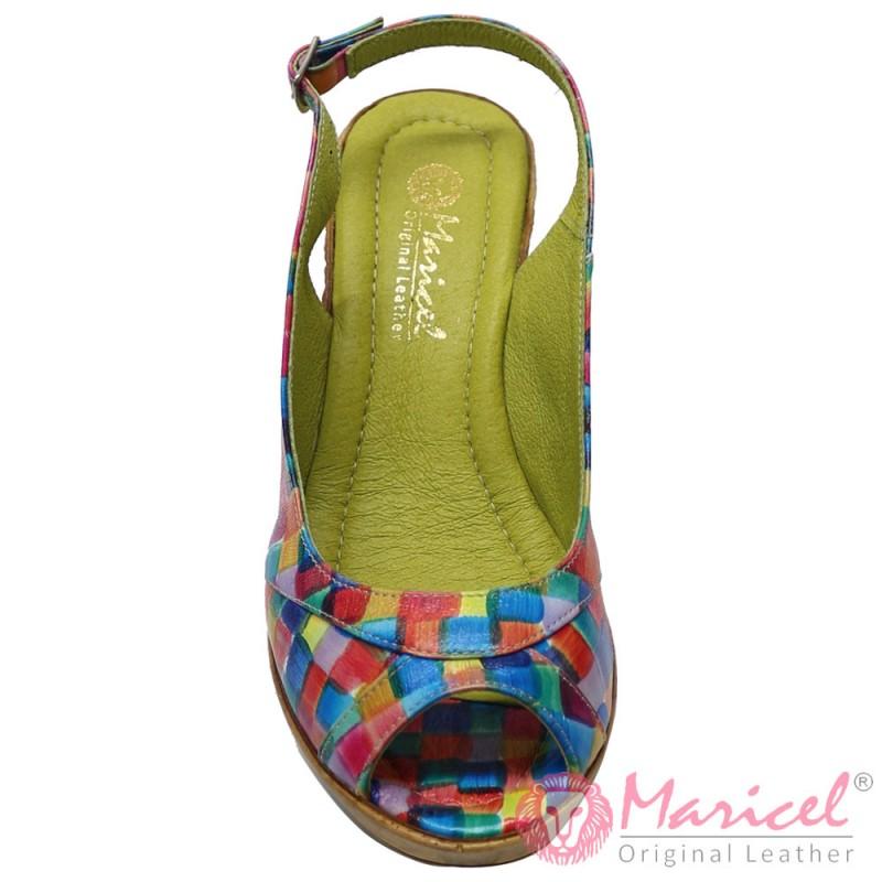Sandale dama din piele naturala multicolora MAR-143