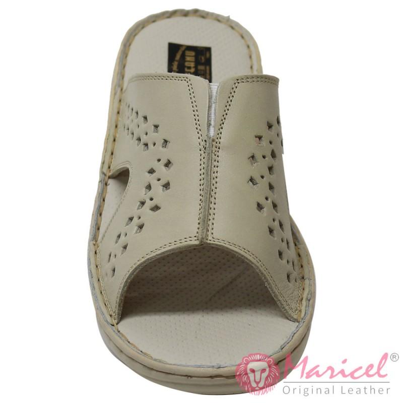 Papuci dama casual piele naturala crem MAR-156