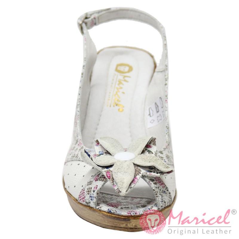 Sandale dama din piele naturala cu floare MAR-75