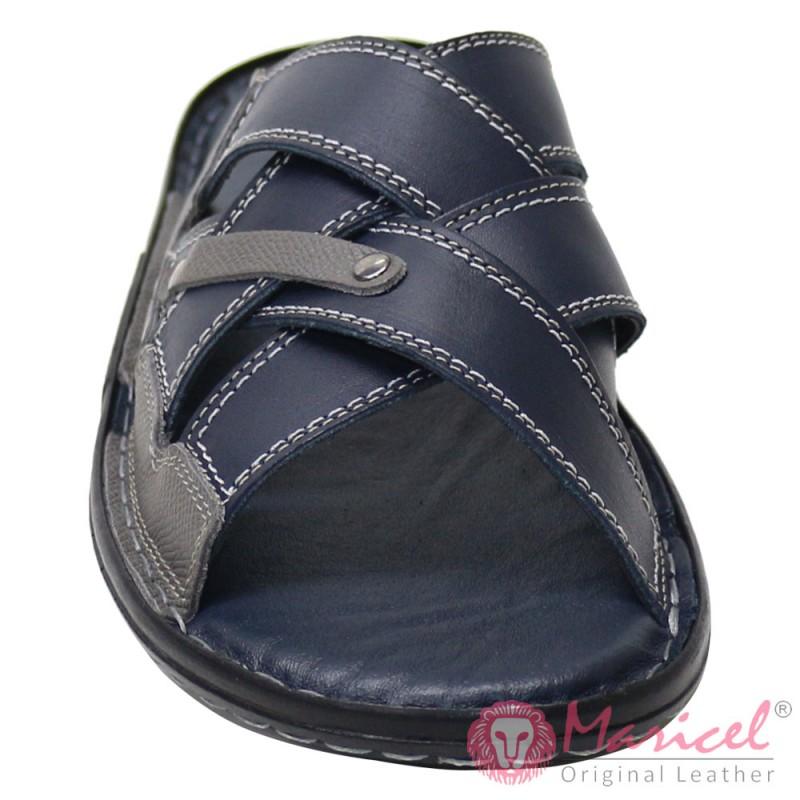 Papuci barbatesti din piele naturala gri + albastru MAR-176