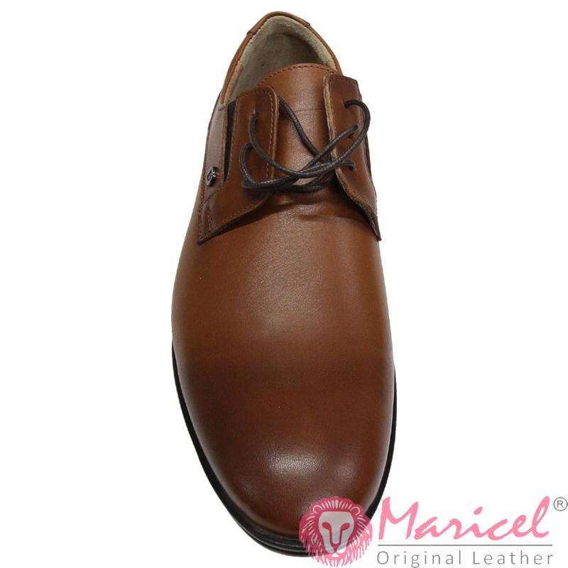 Pantofi barbati eleganti din piele naturala maro deschis MAR-306