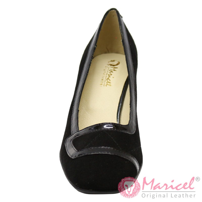 Pantofi dama din piele naturala intoarsa si lacuita MAR-49