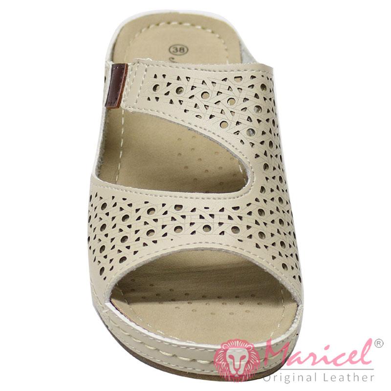 Papuci dama casual piele crem MAR-240