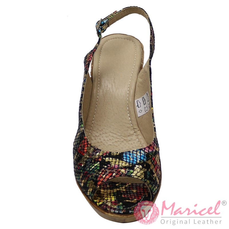 Sandale dama din piele naturala multicolora MAR-141