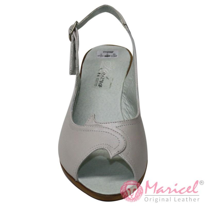 Sandale dama din piele naturala crem sidef MAR-184